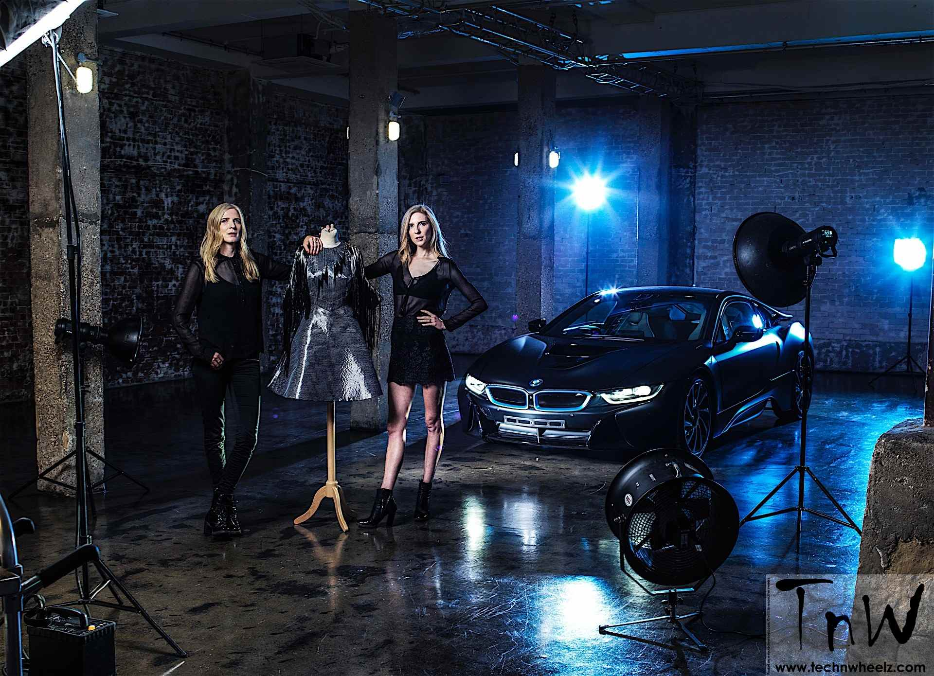 BMW's 'i' brand inspired Carbon fiber dress unveiled by Felder twins